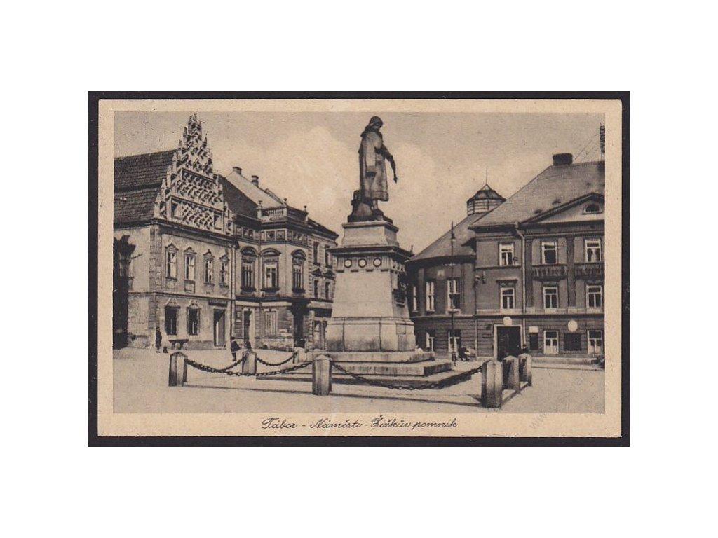 64 - Tábor, náměstí, Žižkův pomník, cca 1926