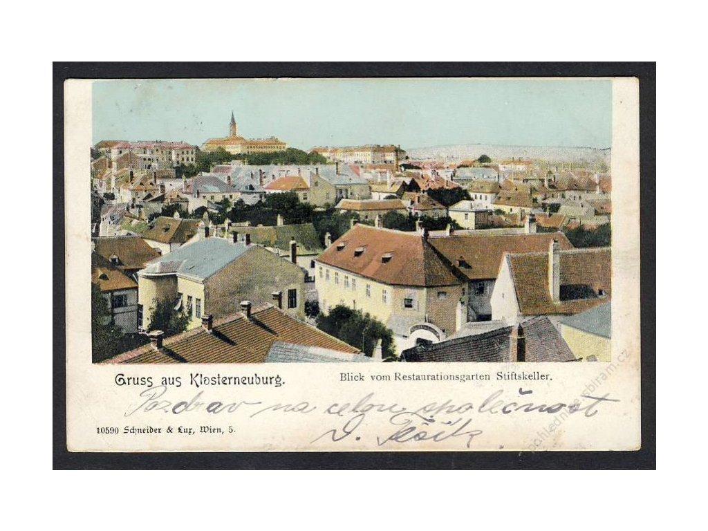 Österreich, Gruss aus Klosterneuburg, Blick vom Restaurationsgarten Stiftskeller, cca 1902