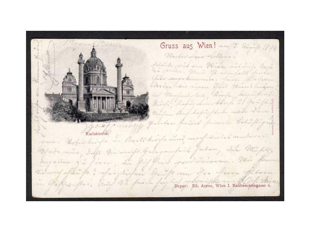 Österreich, Gruss aus Wien, Karlskirche, cca 1899