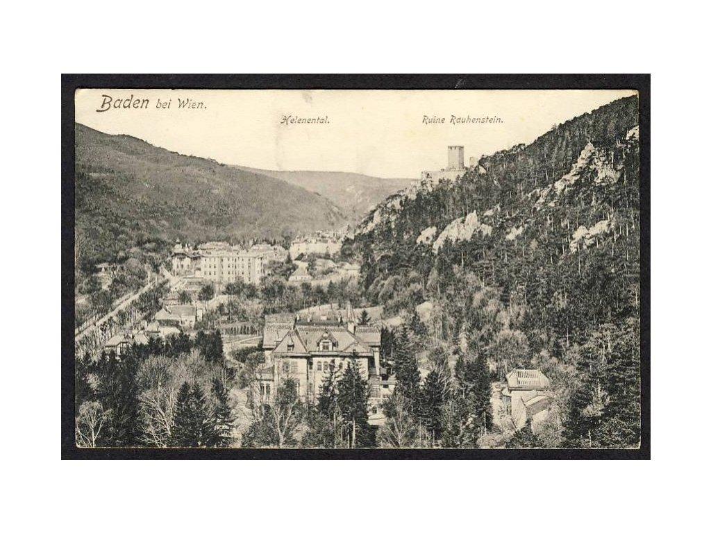 Österreich, Baden bei Wien, Helenental, Ruine Rauhenstein, cca 1918