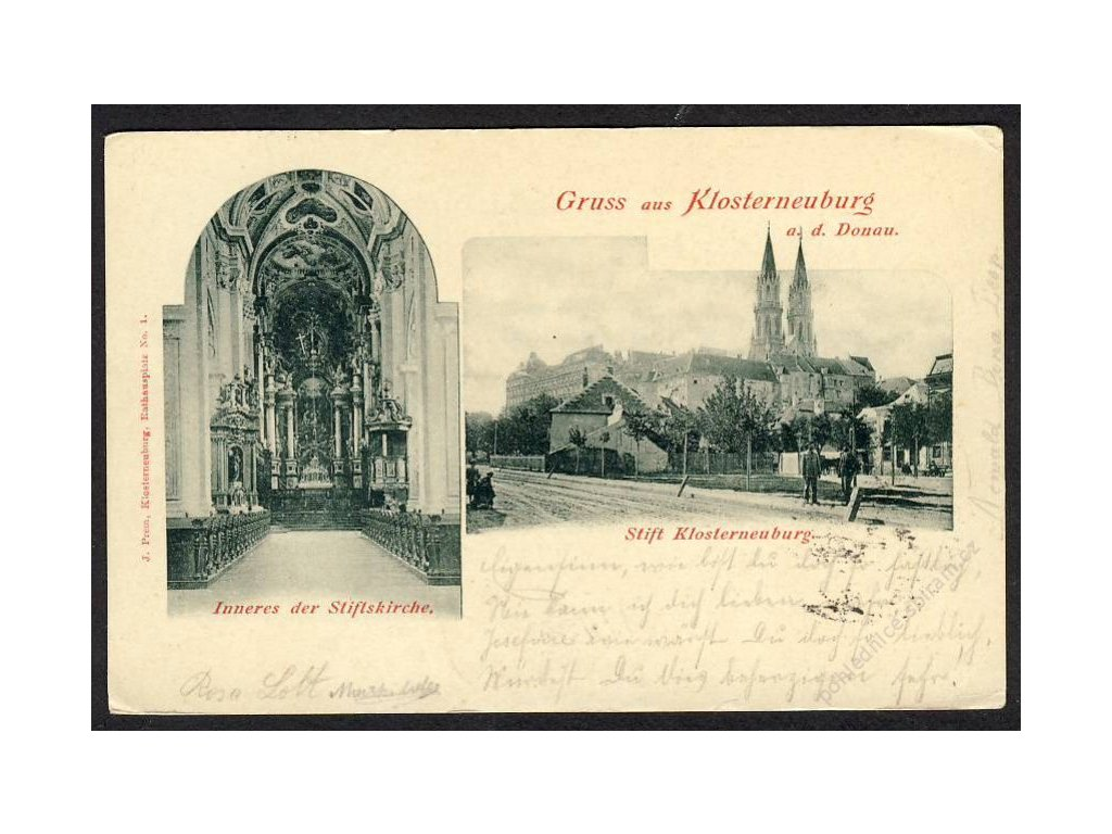 Österreich, Gruss aus Klosterneuburg a. d. Donau, Inneres d. Stiftskirche, Stift, cca 1902