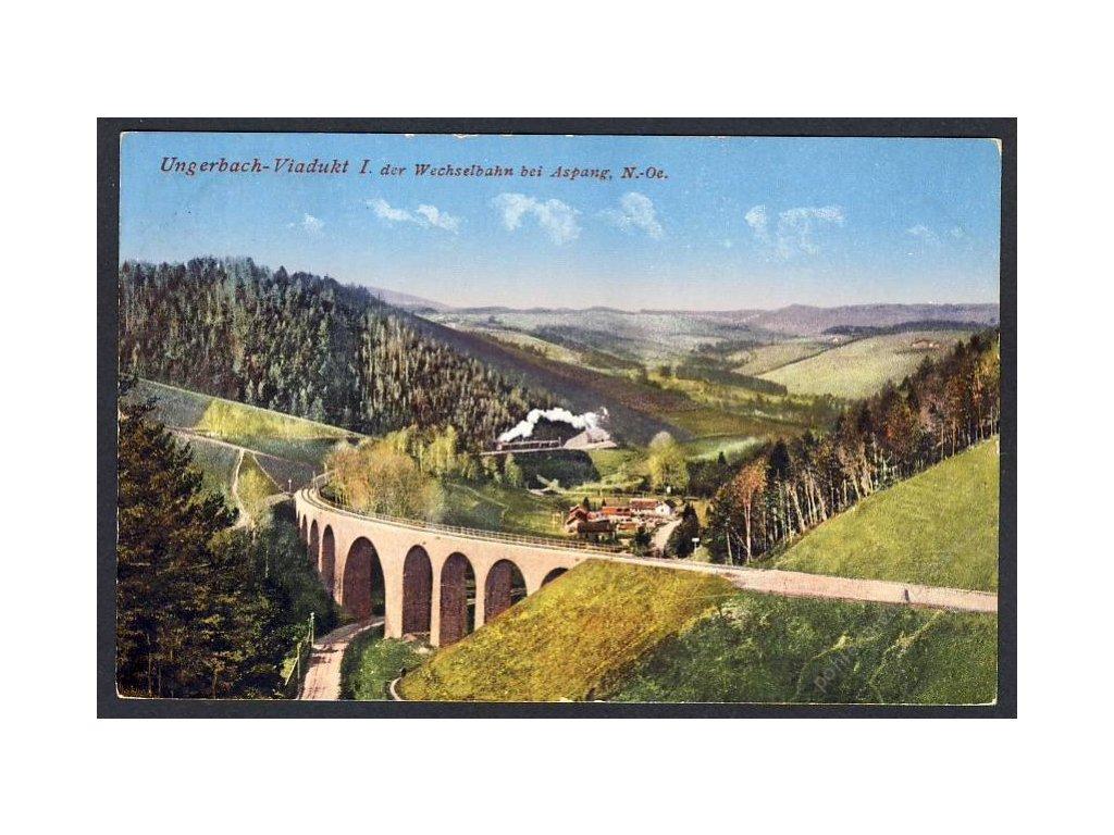 Österreich, Ungerbach-Viadukt I. der Wechselbahn bei Aspang, N.-Oe., cca 1925
