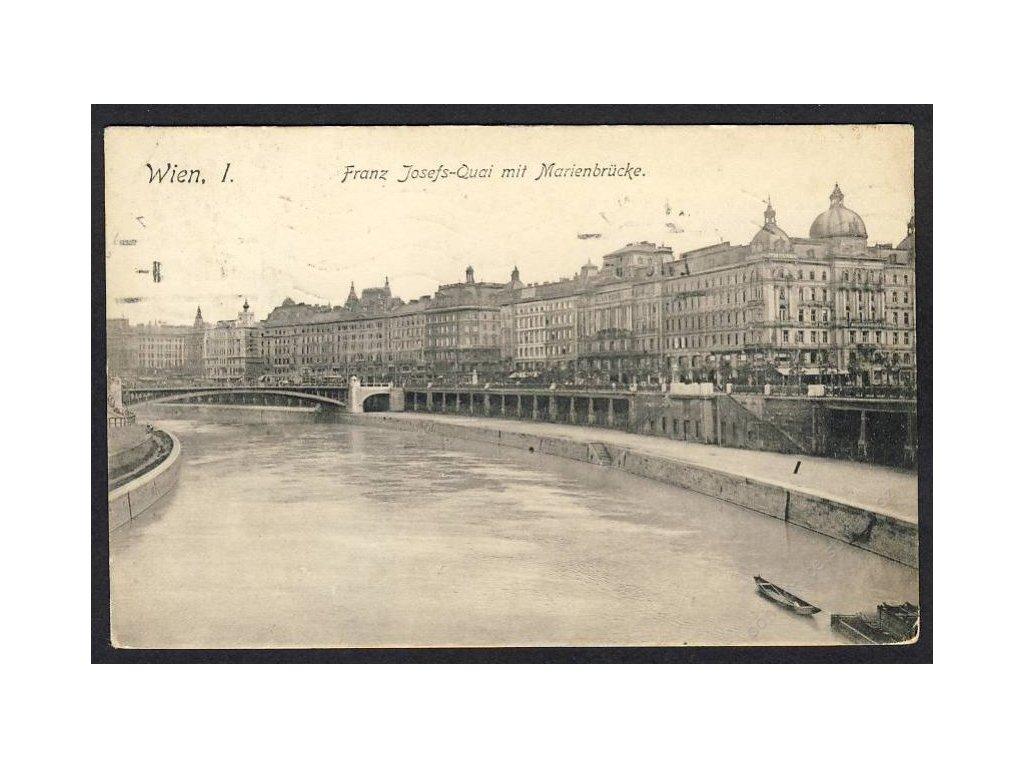 Österreich, Wien, Franz Josefs-Quai mit Marienbrücke, cca 1908