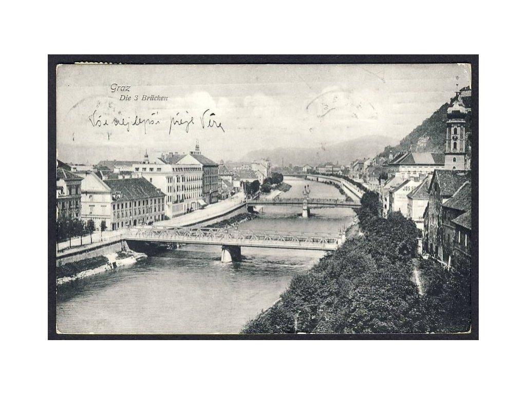 Österreich, Graz, Die drei Brücken, cca 1910