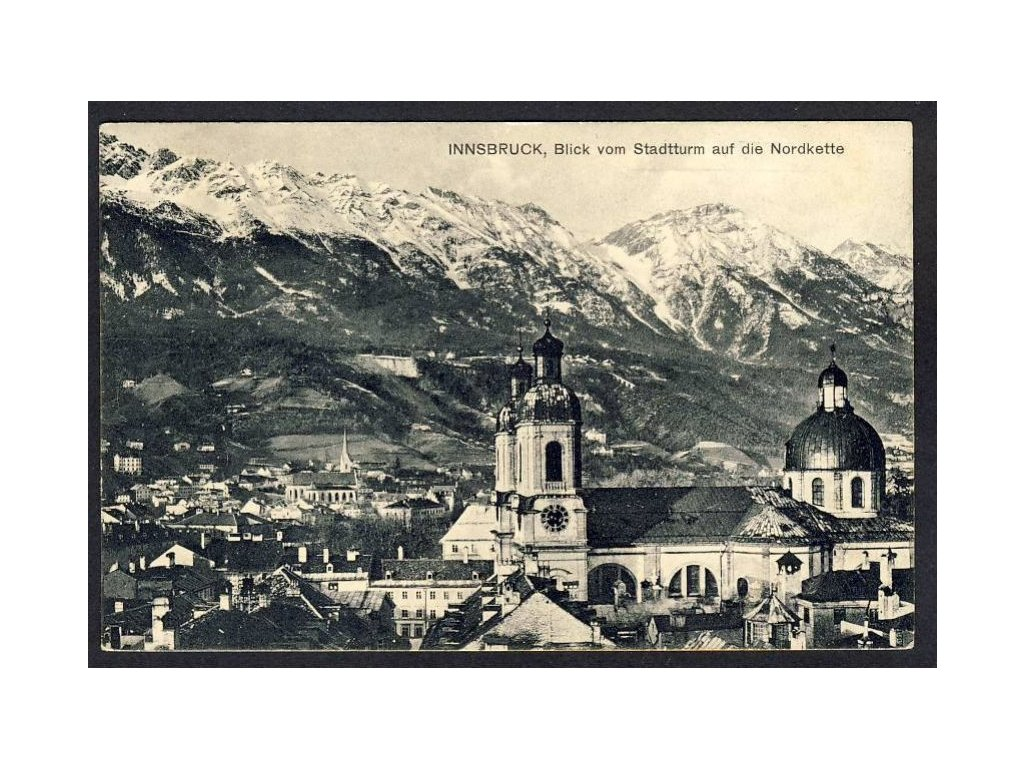 Österreich, Innsbruck, Blick vom Stadtturm auf die Nordkette, cca 1915