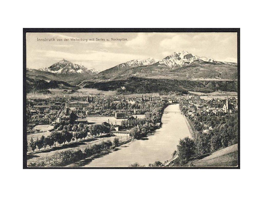 Österreich, Innsbruck von der Weiherburg mit Serles u. Nockspitze, cca 1908