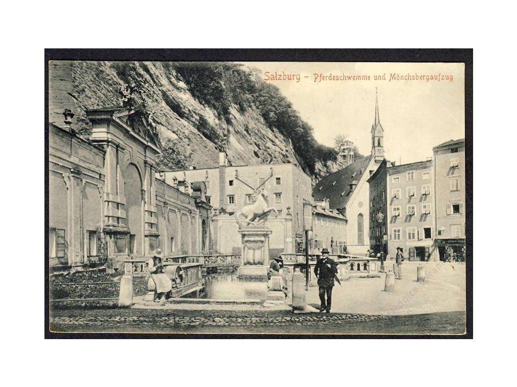 Österreich, Salzburg, Pferdeschwemme u. Mönchsbergaufzug, cca 1917