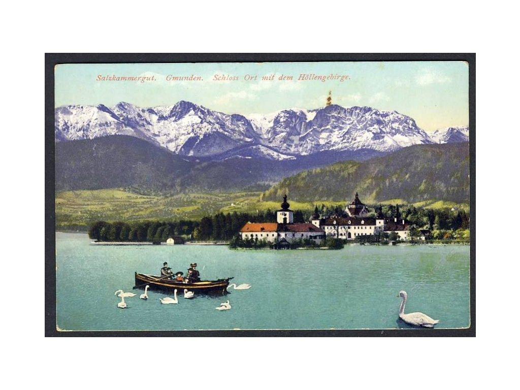 Österreich, Salzkammergut, Gmunden, Schloss Ort mit dem Höllengebirge, cca 1915