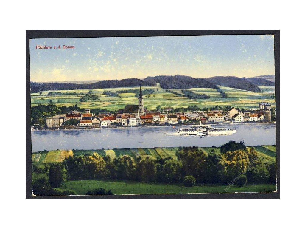 Österreich, Pöchlarn a. d. Donau, Totalansicht, cca 1910