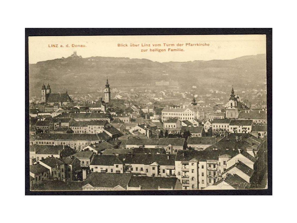 Österreich, Linz a. d. Donau, Blick über Linz vom Turm der Pfarrkirche, cca 1910