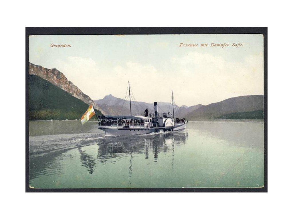 Österreich, Gmunden, Traunsee mit Dampfer Sofie, cca 1908