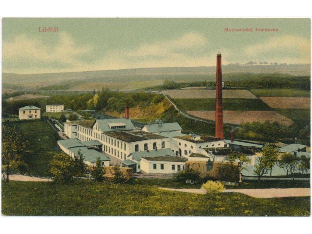 58 - Semilsko, Libštát, pohled na Mechanickou tkalcovnu, cca 1914