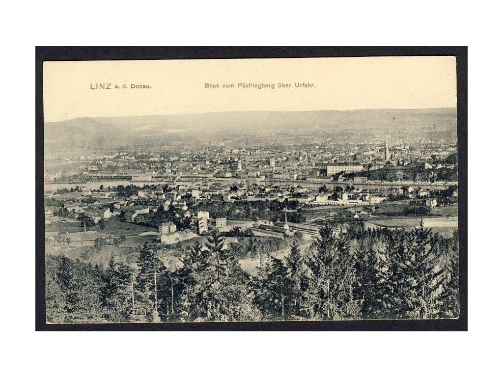 Österreich, Linz a. d. Donau, Blick vom Pöstlingberg über Urfahr, cca 1905