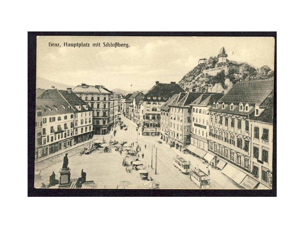 Österreich, Graz, Hauptplatz mit Schlossberg, cca 1908