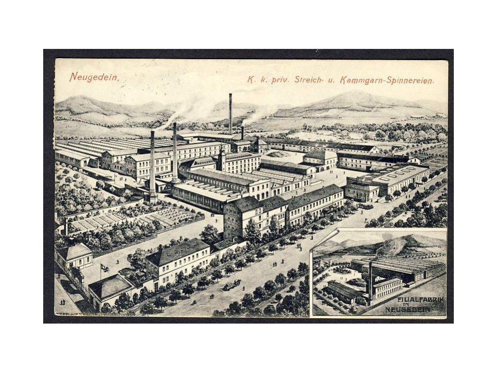 Österreich, Neugedein, K. k. priv. Streich- u. Kammgarn-Spinnereien, cca 1908
