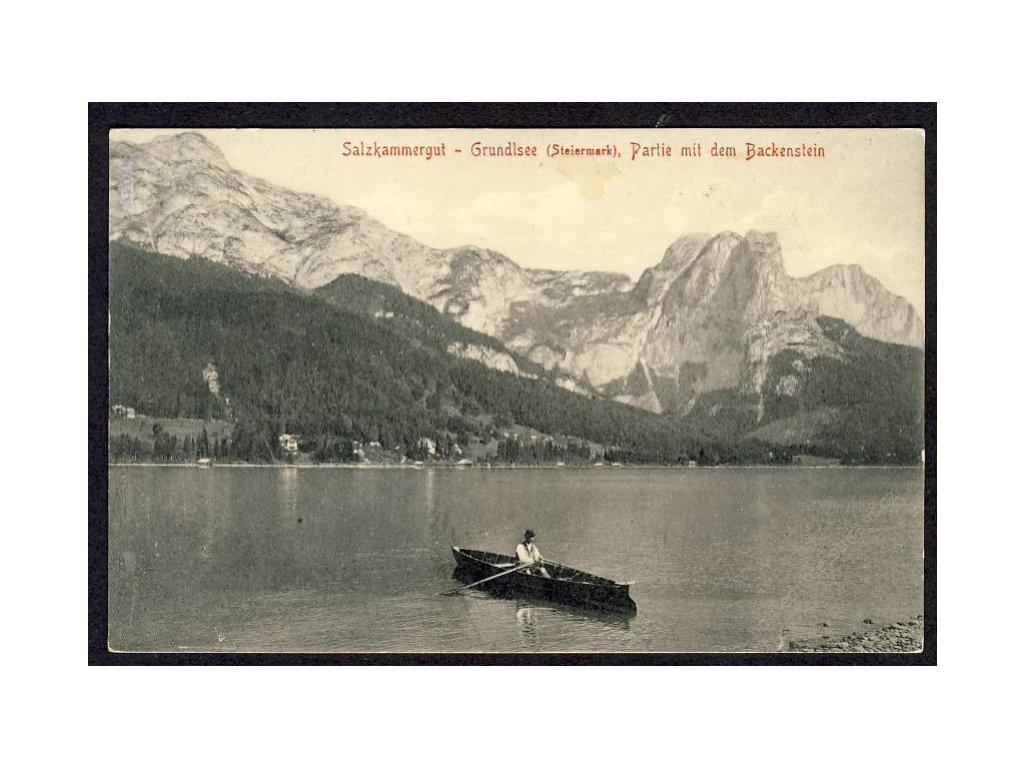 Österreich, Salzkammergut, Grundlsee, Partie mit dem Backenstein, cca 1910