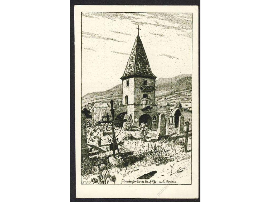 Österreich, Wachau, Predigtturm in Spitz a. d. Donau, cca 1910
