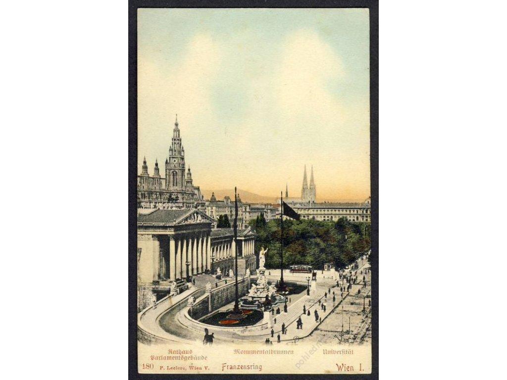 Österreich, Wien, Franzensring, Rathaus, Parlament, Brunnen, Universität, cca 1908