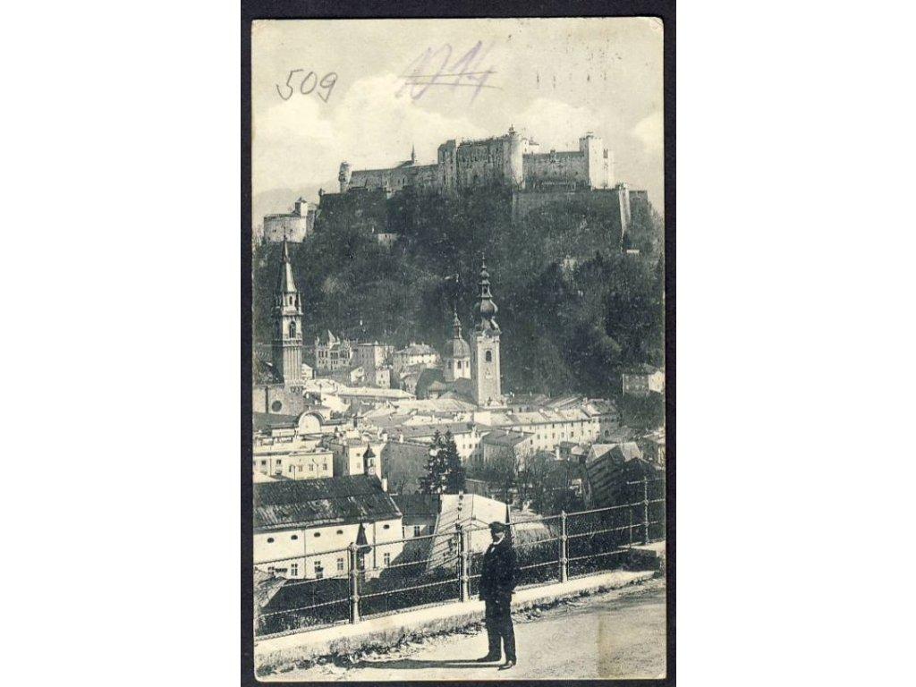 Österreich, Salzburg, Festung Hohen-Salzburg vom Elektrischen Aufzug, cca 1910