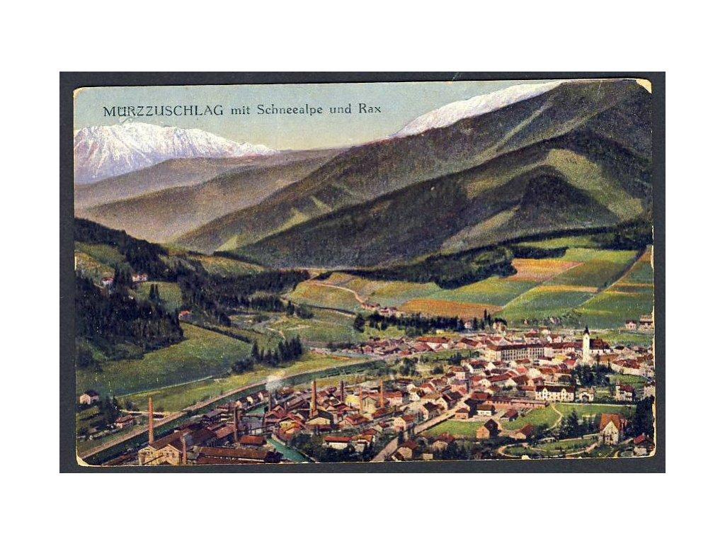 Österreich, Mürzzuschlag mit Schneealpe und Rax, cca 1918
