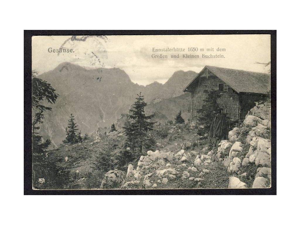 Österreich, Gesäuse, Ennstalerhütte, Grosser u. Kleiner Buchstein, cca 1920