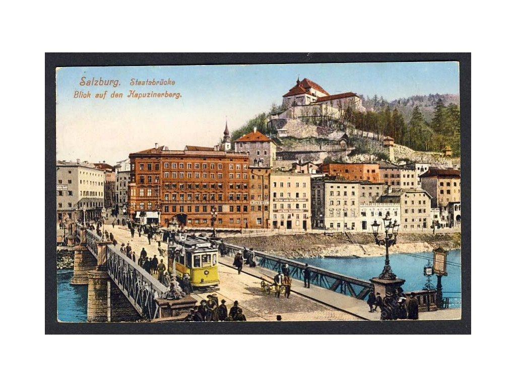 Österreich, Salzburg, Staatsbrücke, Blick auf den Kapuzinerberg, cca 1912