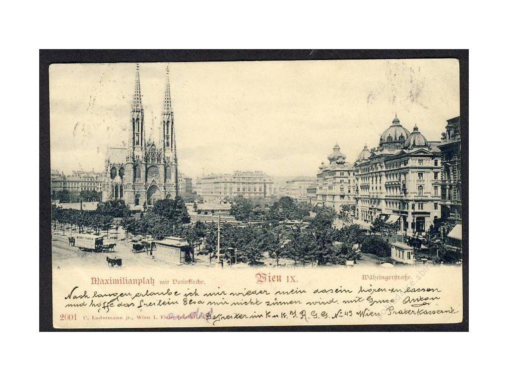 Österreich, Wien, Maximilianplatz mit Votivkirche, cca 1900