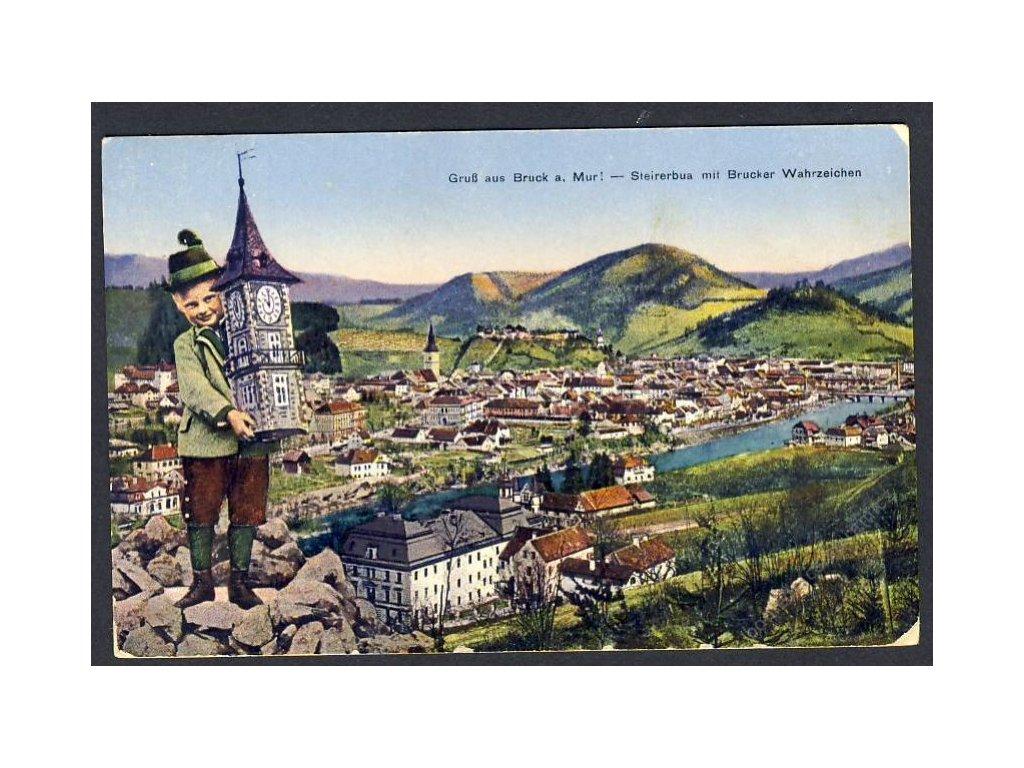 Österreich, Gruss aus Bruck a. Mur, Steirerbua m. Brucker Wahrzeichen, cca 1918