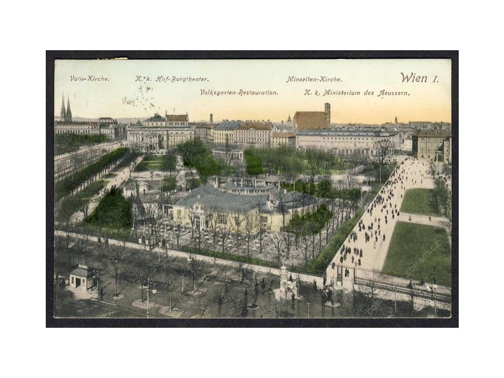 Österreich, Wien, Votivkirche, Burgtheater, Volksgartenrestauration u.Ä., cca 1911
