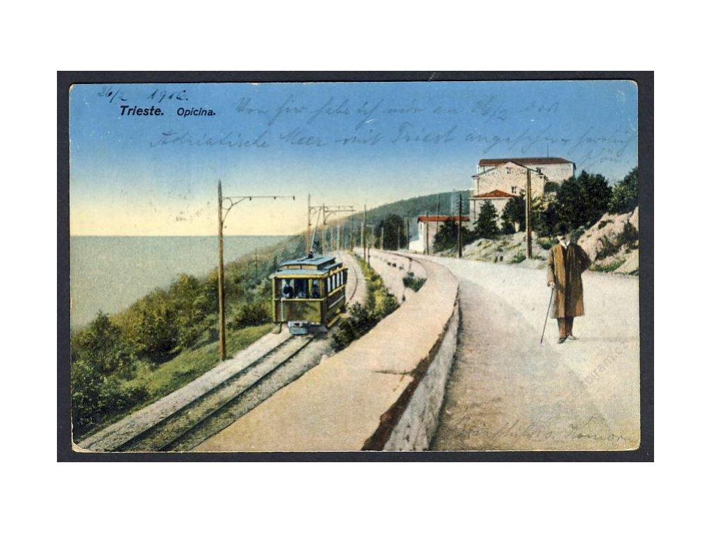 Italien, Triest, Partie mit Tram u. Meer, cca 1916