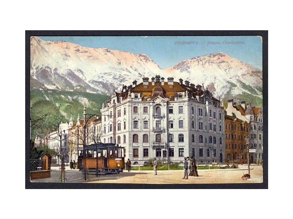 Österreich, Innsbruck, Saggen, Claudiaplatz, Tram !!!, cca 1910