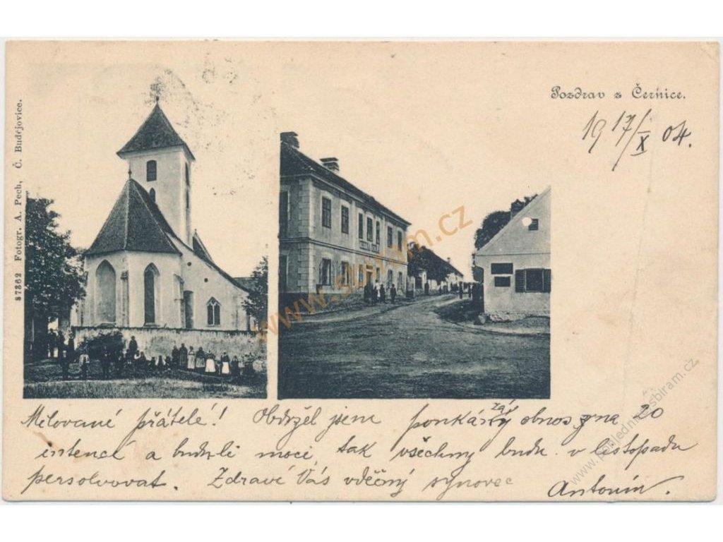 13 - Českokrumlovsko, Černice, 2 - záběr dominant vesnice, cca 1904