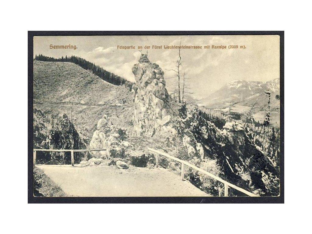 Österreich, Semmering, Felspartie an der Fürst Liechtensteinstr. m. Raxalpe, cca 1910