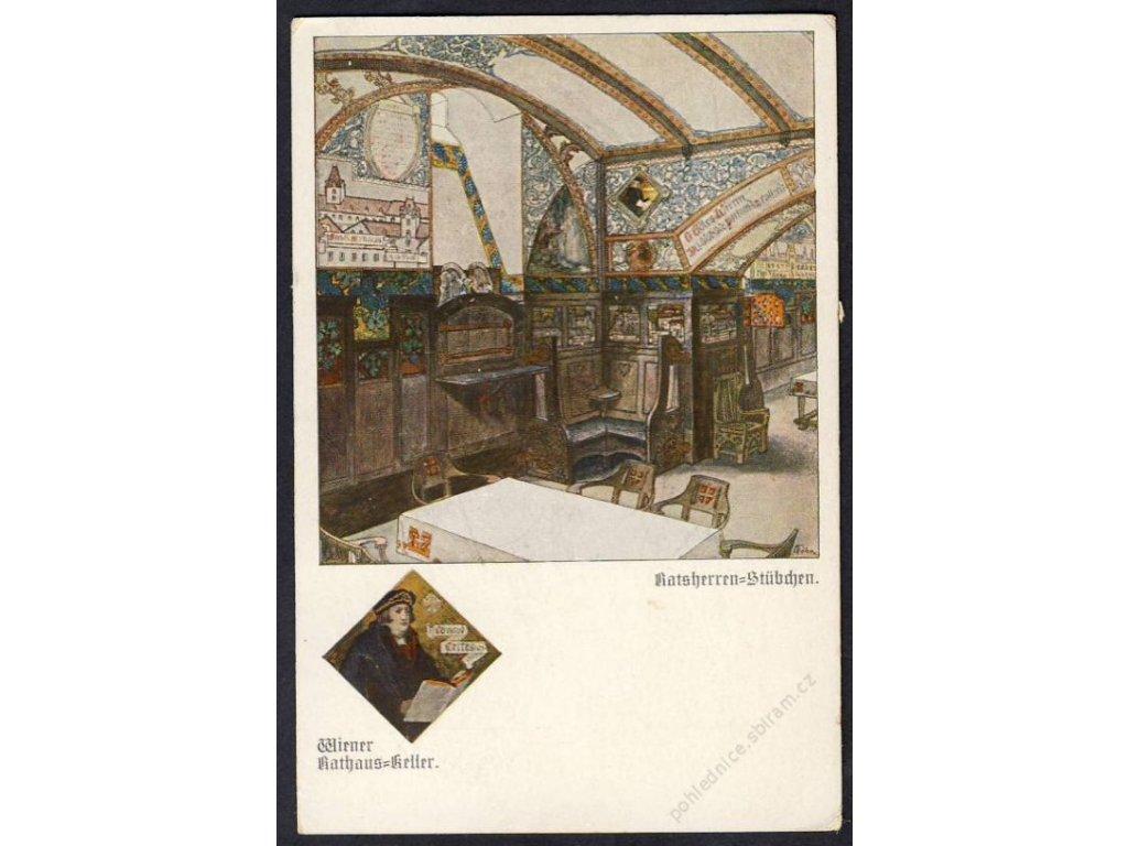 Österreich, Wiener Rathaus-Keller, Rathausherren-Stübchen, cca 1920