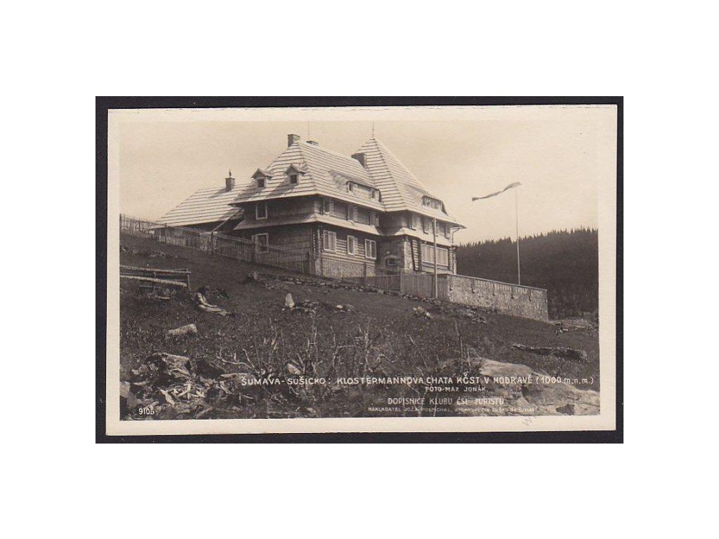 28 - Šumava, Sušicko, Klostermannova chata KSČT v Modravě, Foto Fon, cca 1925