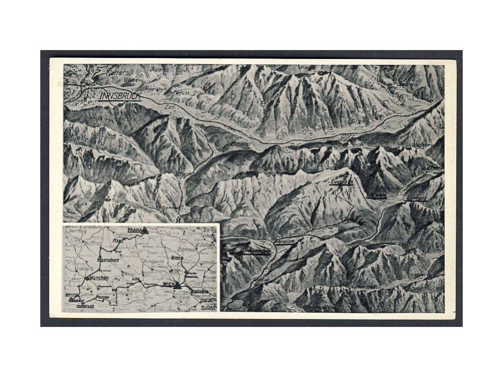 Österreich, Landkarte, Innsbruck u. Ä., cca 1936