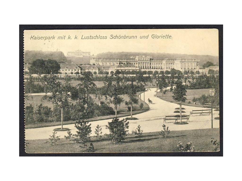 Österreich, Kaiserpark mit k. k. Lustschloss Schönbrunn u. Gloriette, cca 1908