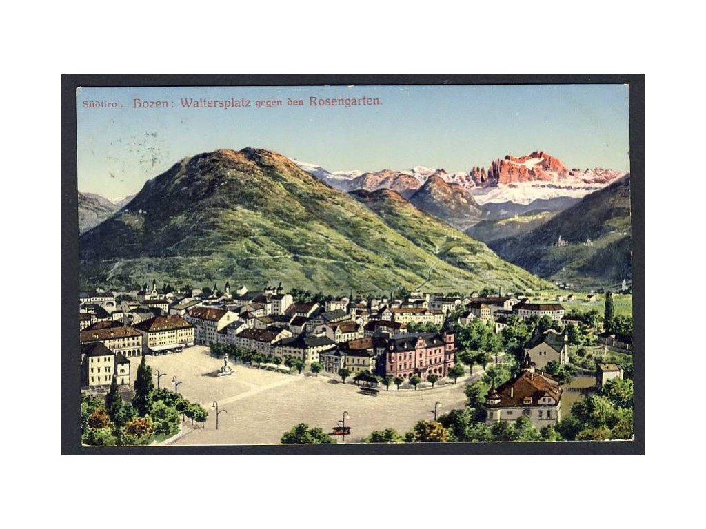Österreich, Südtirol, Bozen, Waltersplatz gegen den Rosengarten, cca 1915