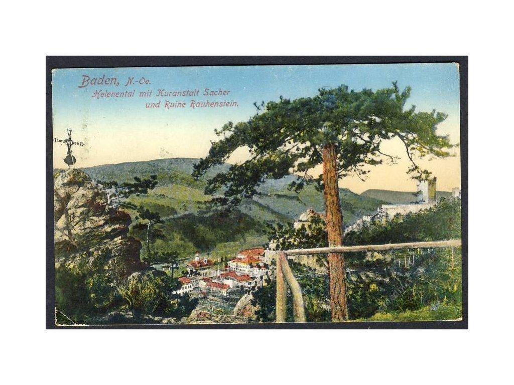 Österreich, Baden, Helenenthal mit Kuranstalt Sacher u. Ruine Rauhenstein, cca 1915