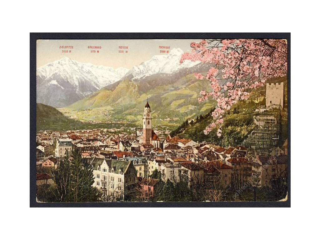 Österreich, Südtirol, Kurort Meran gegen Vinschgau, cca 1920