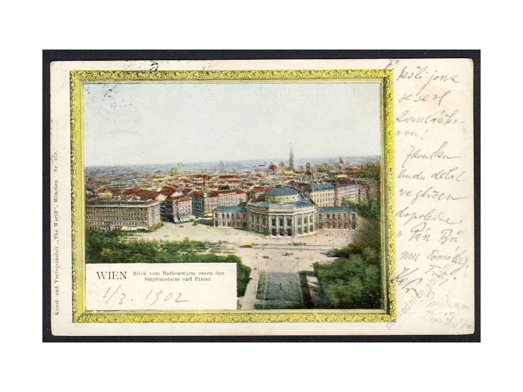 Österreich, Wien, Blick vom Rathausturm gegen den Stephansdom u. Prater, cca 1902