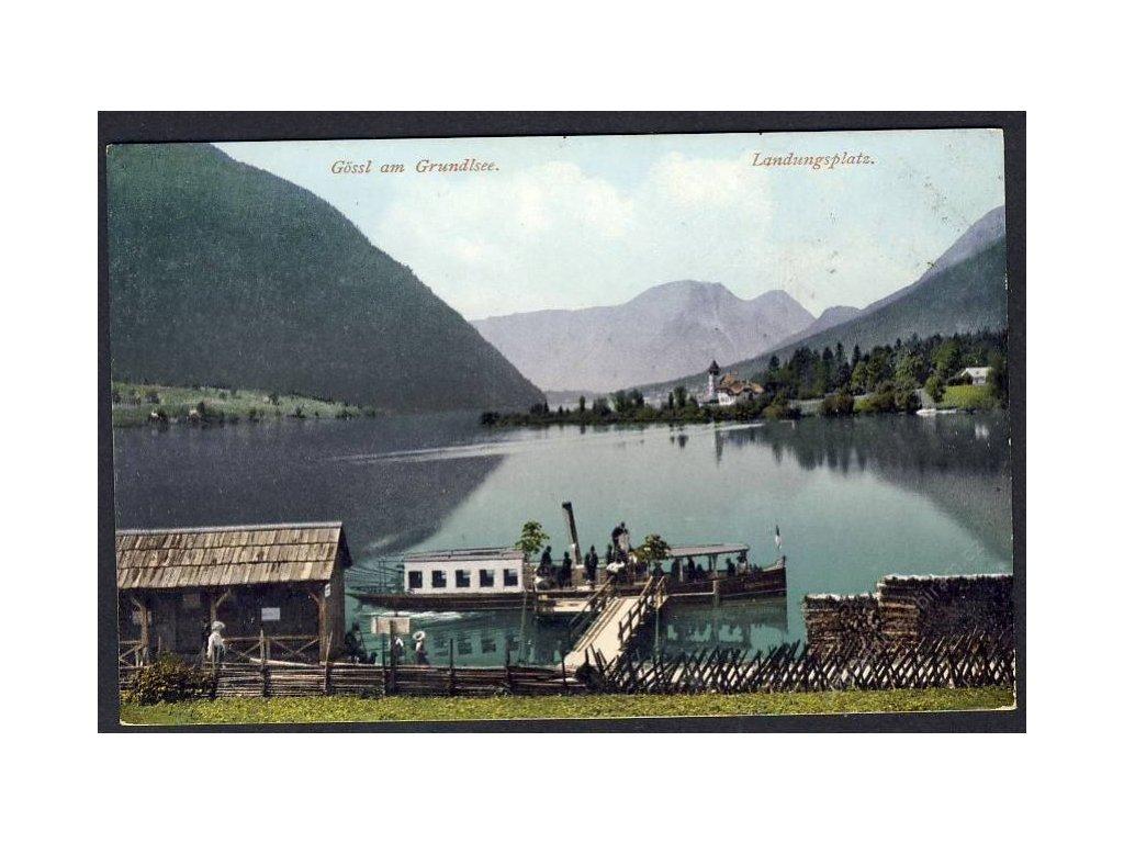 Österreich, Gössl am Grundlsee, Landungsplatz, cca 1908