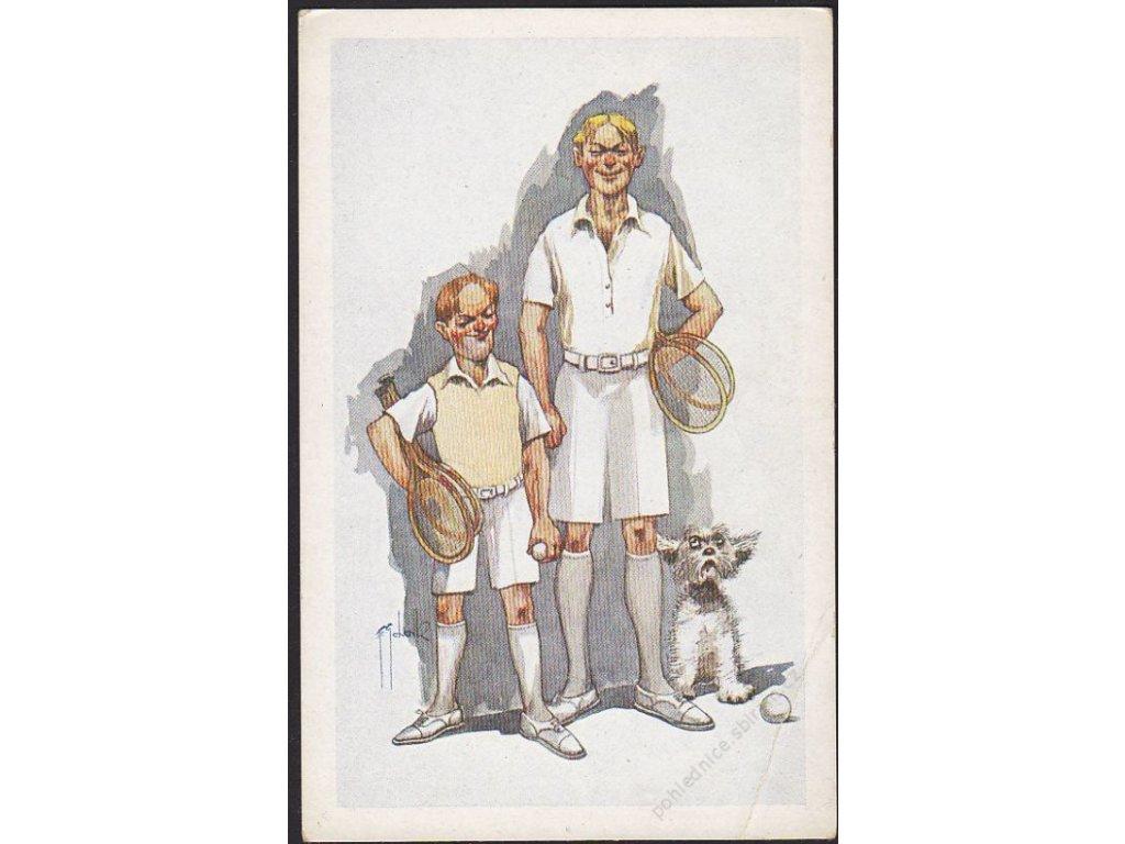 ČSR, tenis, satirická, cca 1935