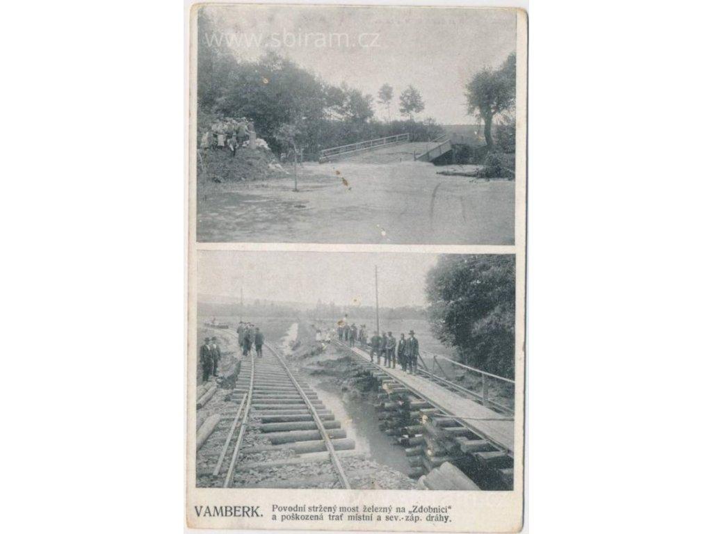 57 - Rychnovsko, Vamberk, stržený most a poškozená trať, cca 1907