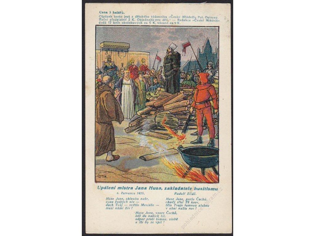 Upálení mistra Jana Husa, zakladatele husitismu, cca 1910