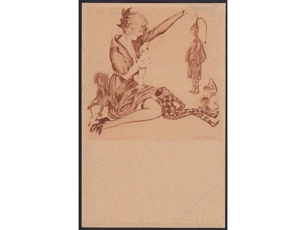Max Brüning, Dáma s harlekýny, cca 1925