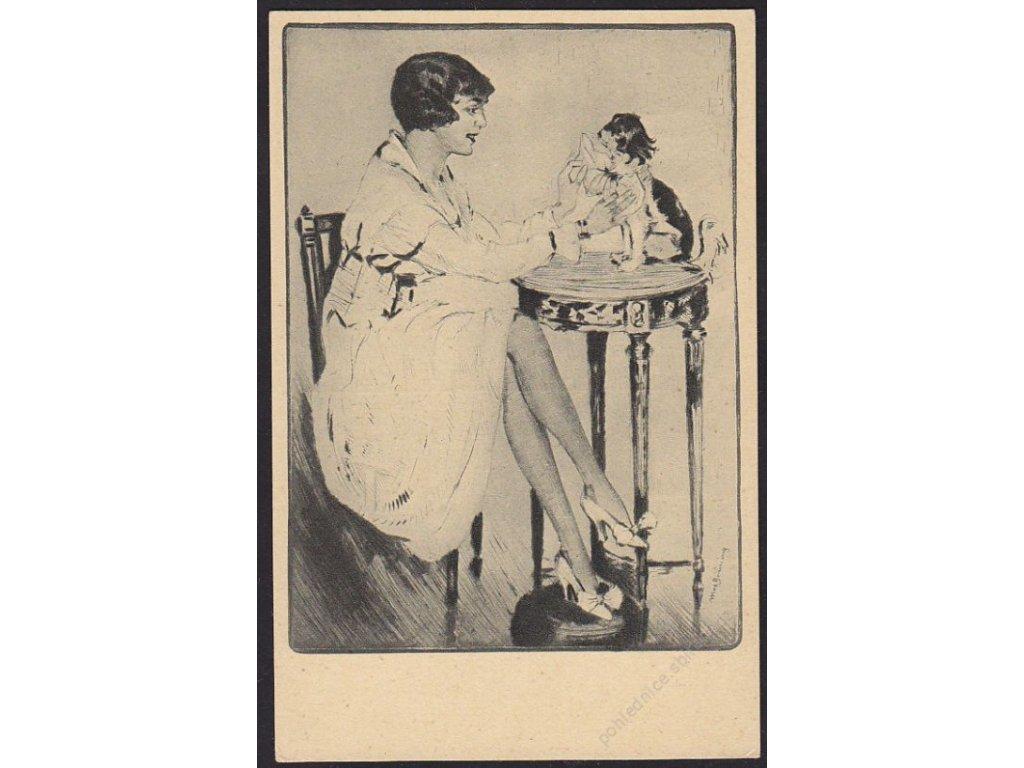 Max Brüning, Dáma s psíkem, cca 1925