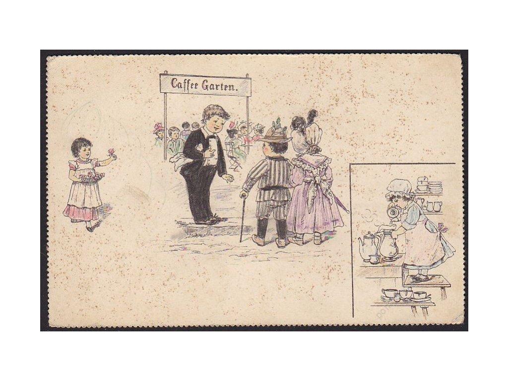 Děti v zahradní kavárně, Služebná apod., satirická, cca 1898