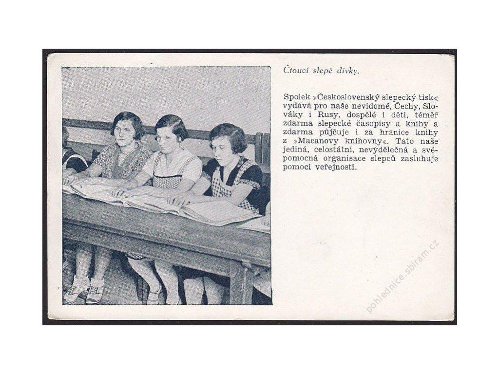 Čtoucí slepé dívky, cca 1935