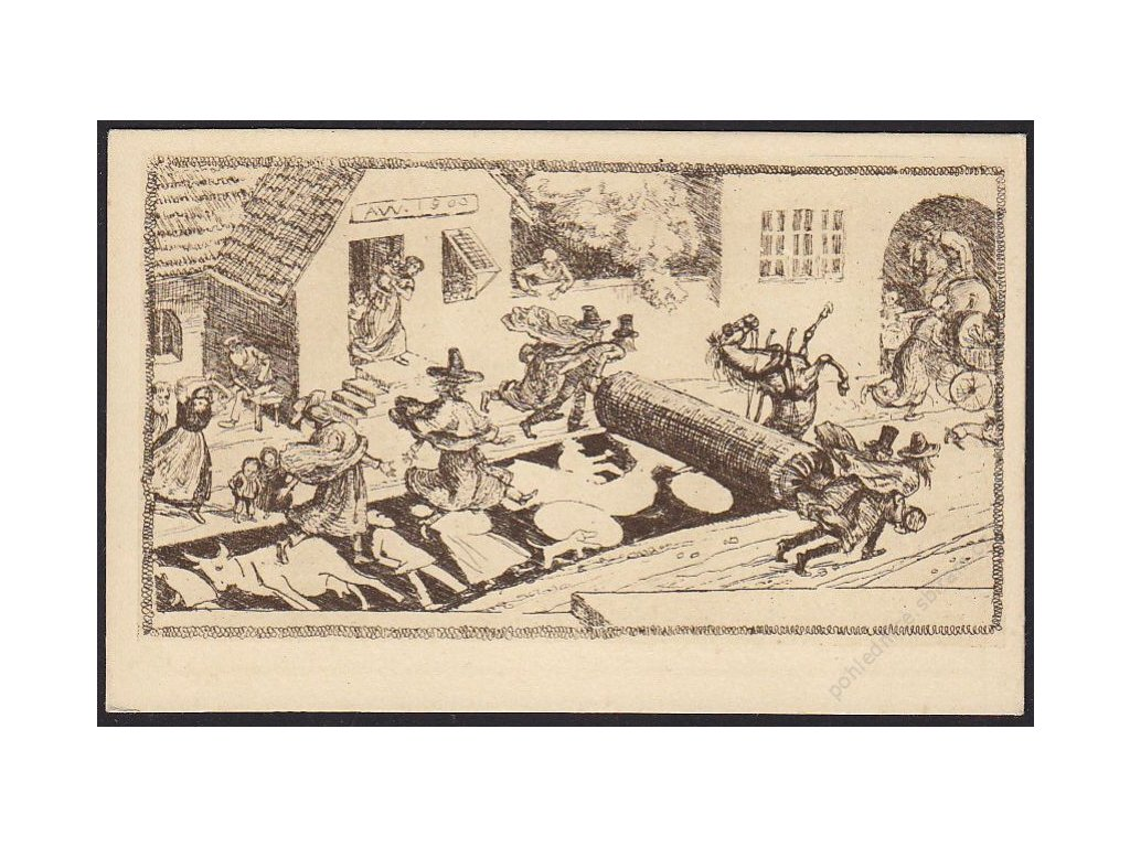 Albert Welti, Válcování umění, satirická, cca 1925